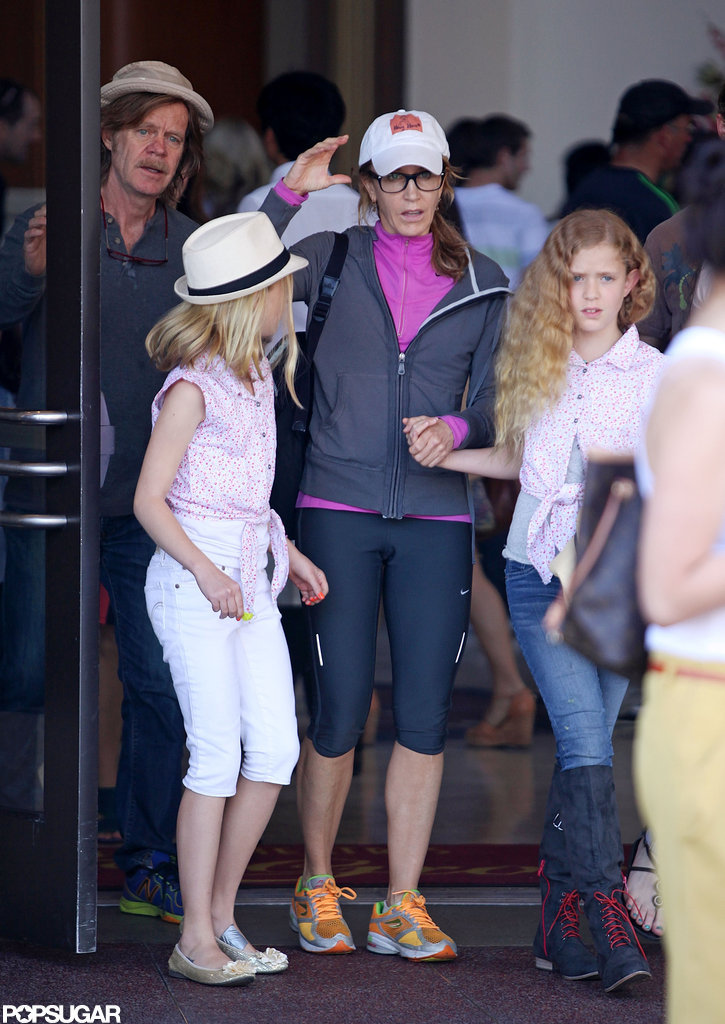 Felicity Huffman caught a movie in LA with husband William H. Macy and their daughters.