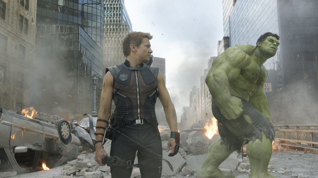 Jeremy Renner as Hawkeye and Mark Ruffalo as The Hulk in The Avengers. Photo courtesy of Disney
