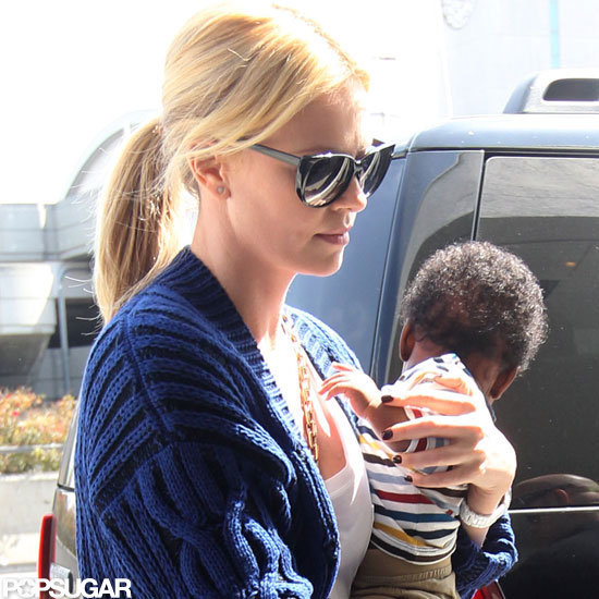 Charlize Theron traveled with son Jackson at the airport in LA.