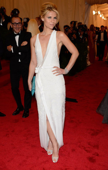 Claire Danes stepped onto the red carpet at the Met Gala wearing a white J. Mendel gown.