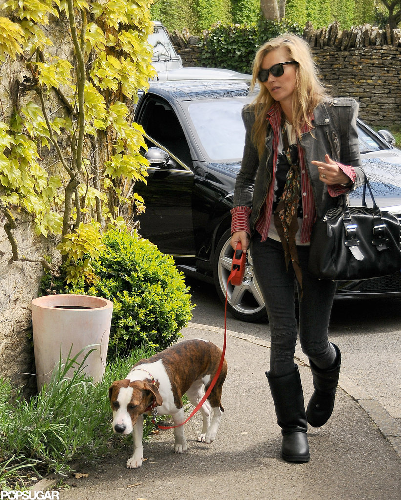 Kate Moss walked Archie the dog.