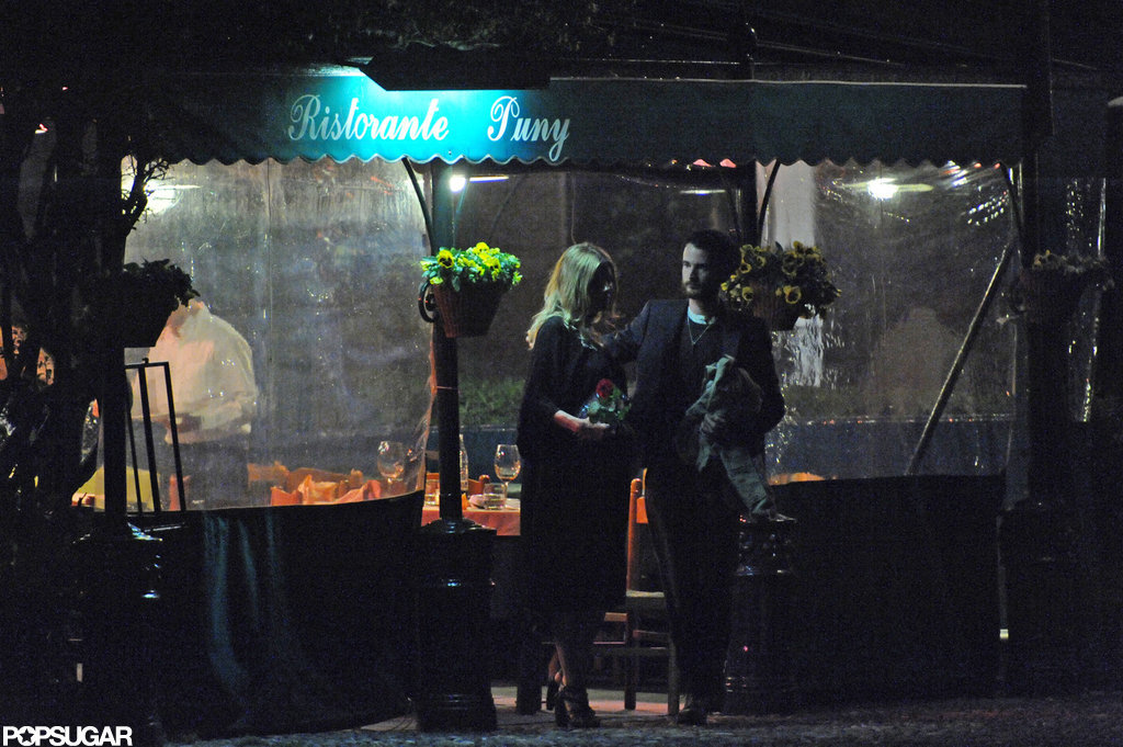 Sienna Miller and Tom Sturridge left a restaurant in Italy together.