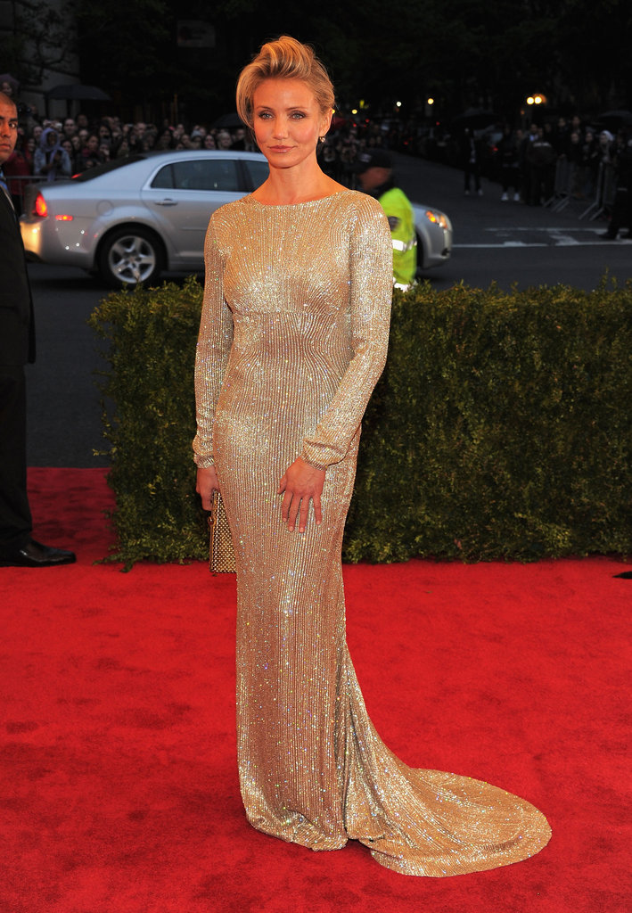 Cameron Diaz posed on the red carpet in Stella McCartney at the Met Gala.