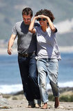 Halle Berry and Olivier Martinez on the beach in Malibu.