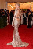Karolina Kurkova showed off her Rachel Zoe dress for the Met Gala.