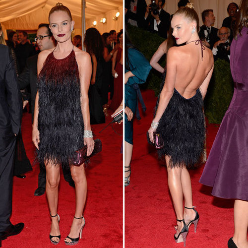Pictures of Kate Bosworth in Feathered Prada Dress on the Red Carpet at the 2012 Met Costume Institue Gala
