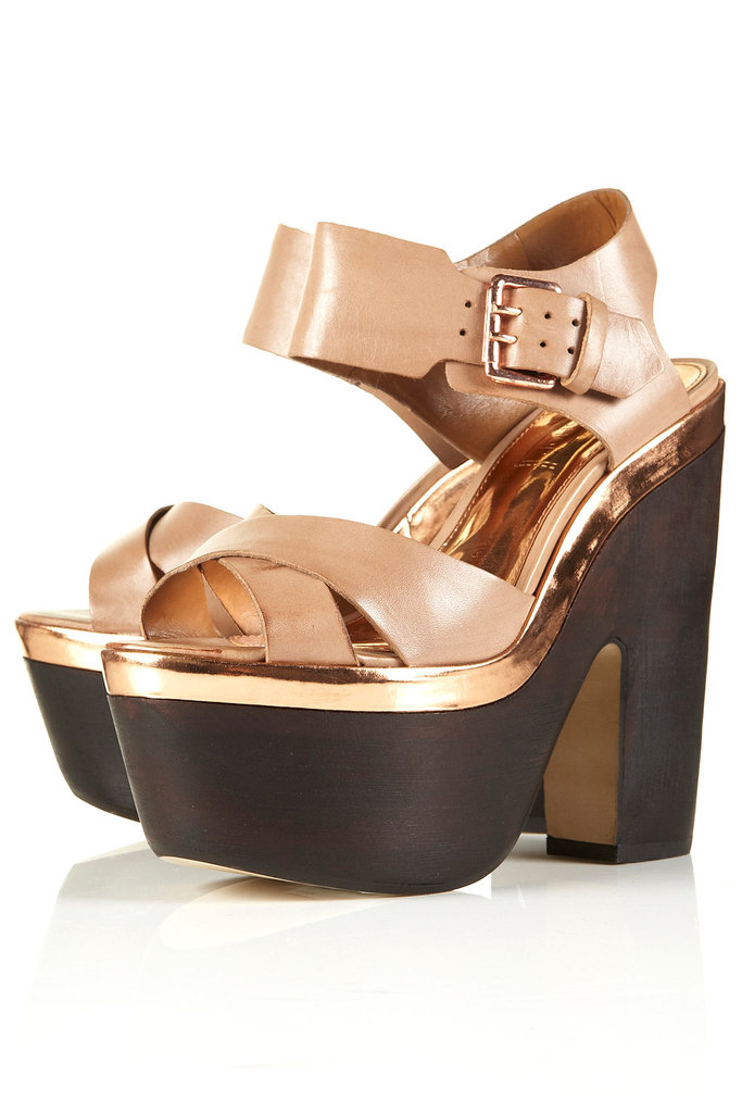 Pair these dark wood platforms with a floral dress.  Topshop Lima Wooden Heel Sandals ($170)