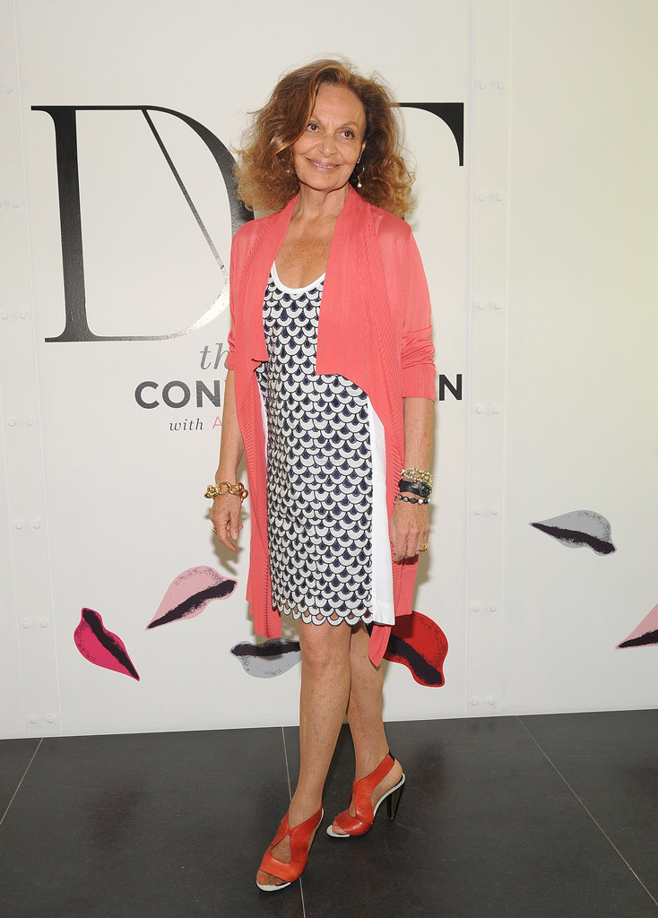Diane von Furstenberg showed off a fresh Spring palette in a printed frock and pink jacket.
