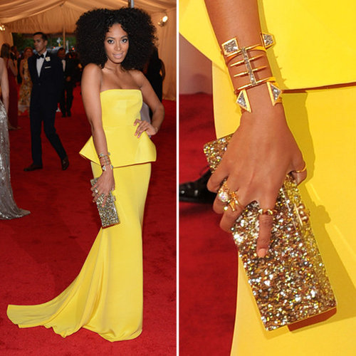 Pictures of Solange Knowles in Yellow Rachel Roy Dress on the Red Carpet at the 2012 Met Costume Institue Gala