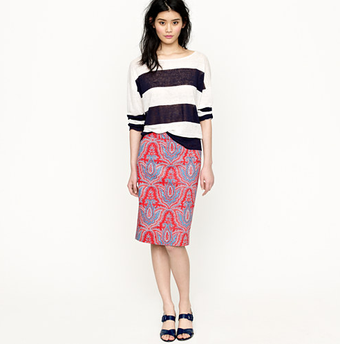 We love the Indian-inspired print on this ladylike pencil skirt.  J.Crew No. 2 Pencil Skirt ($98, originally $138)
