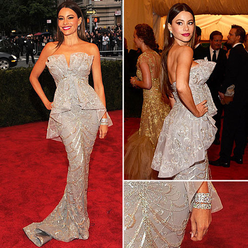 Pictures of Sofia Vergara in Grey Sequinned Marchesa Gown on the Red Carpet at the 2012 Met Costume Institue Gala