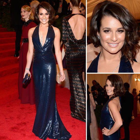 Pictures of Lea Michele in Navy Sequinned Diane von Furstenberg Dress on the Red Carpet at the 2012 Met Costume Institue Gala