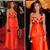 Pictures of Eva Mendes in Orange Beaded Prada Dress on the Red Carpet at the 2012 Met Costume Institue Gala