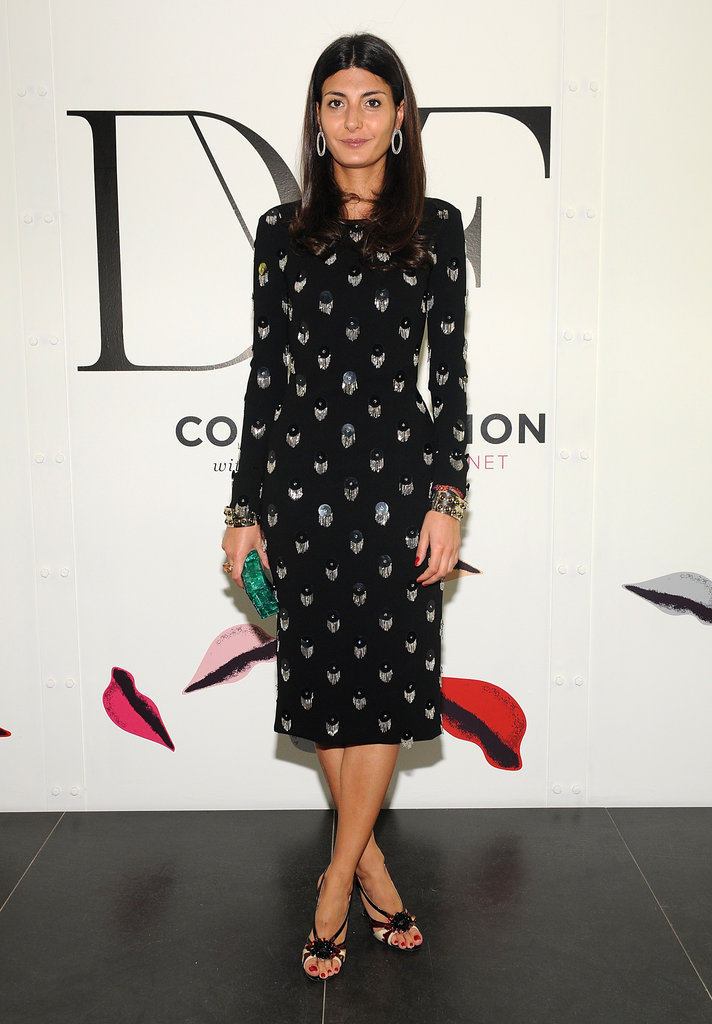Giovanna Battaglia, contributing fashion editor at W, chose a printed DVF frock for the occasion.
