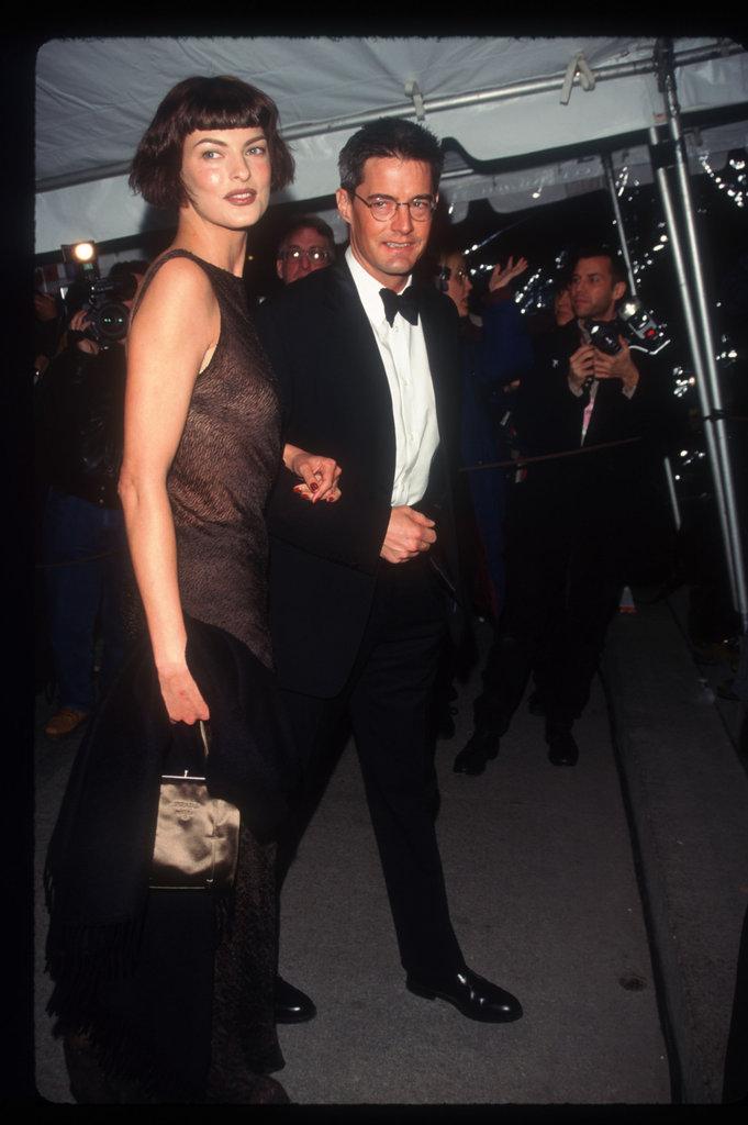 Linda Evangelista and Kyle MacLachlan in 1996
