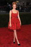 Emma Stone Gets Girly in Flower-Covered Lanvin at the Met Gala
