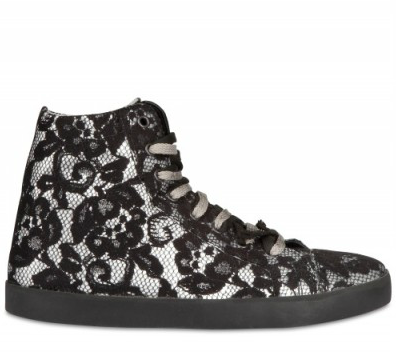 Mancapane Laminated Silk and Lace High Top ($195)
