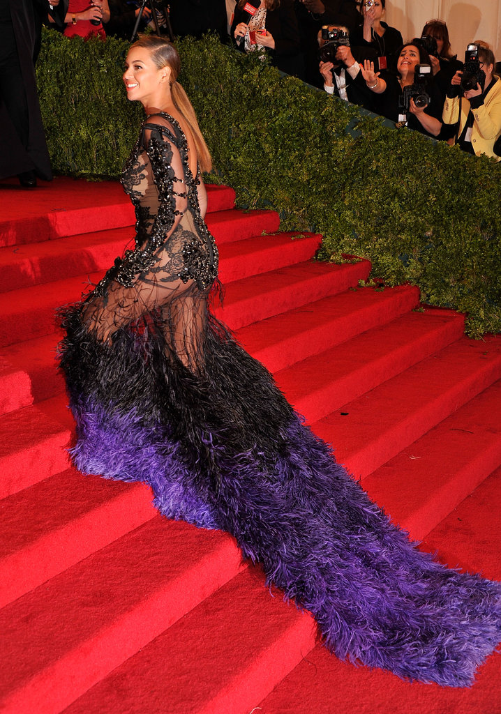 Beyoncé Knowles's Givenchy gown had a feathered train.