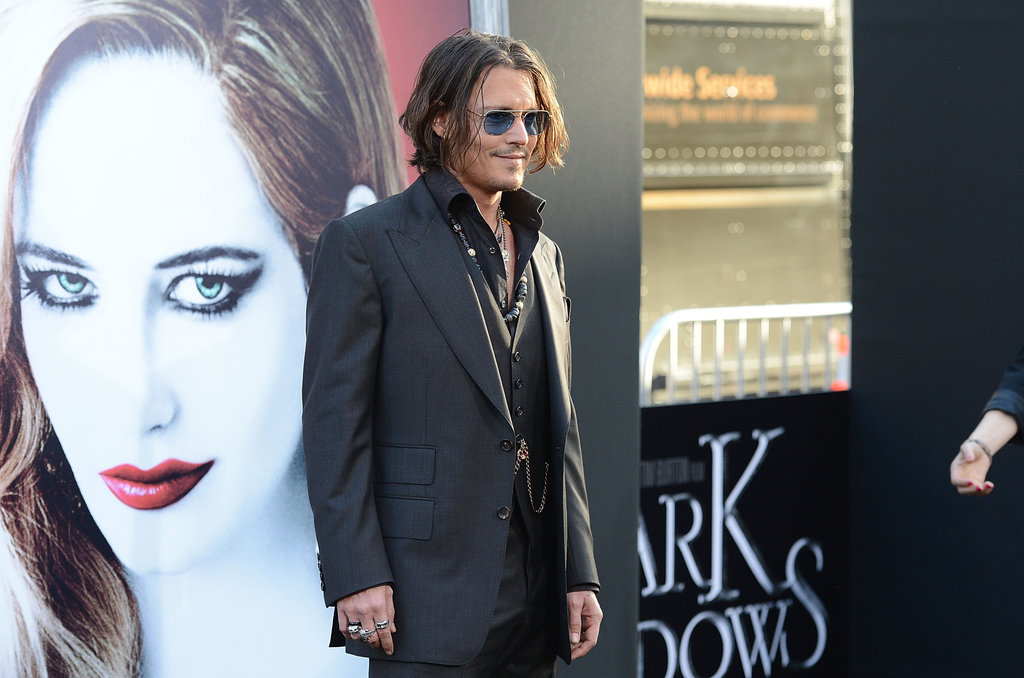 Johnny Depp posed at the Dark Shadows premiere in LA.