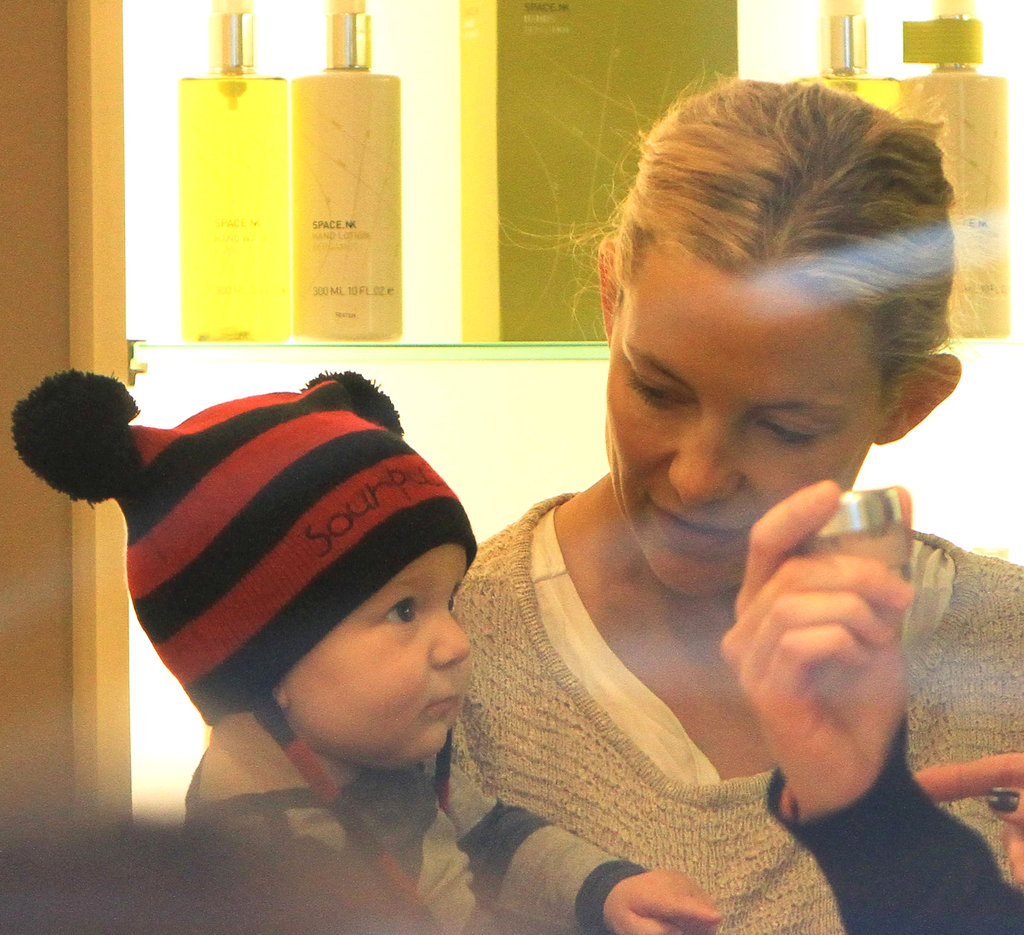 Kate Hudson took baby son Bingham Bellamy on a shopping spree in London in March 2012.