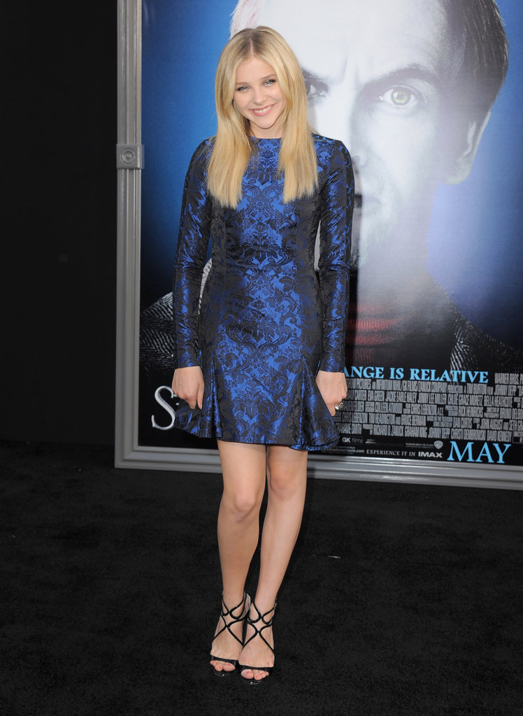 Chloe Moretz wore black strappy heels with a shiny royal blue dress at the Dark Shadows premiere in LA.