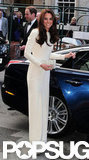 Kate Middleton looked gorgeous in a long white gown from Roland Mouret.