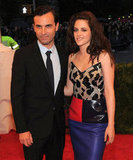 Kristen Stewart smiled on the red carpet at the Met Gala with Balenciaga designer Nicolas Ghesquiere.