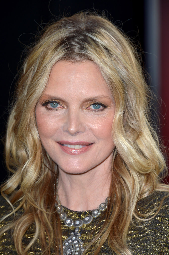 Michelle Pfeiffer gave a smile at the Dark Shadows premiere in LA.