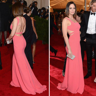 Pictures of Emily Blunt in Pink Calvin Klein Backless Dress Dress on the Red Carpet at the 2012 Met Costume Institue Gala