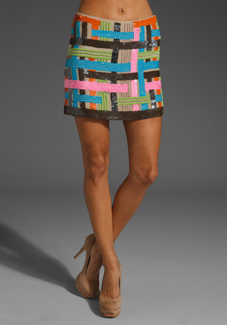 Milly Woven Sequin Embroidery Miniskirt ($367)
