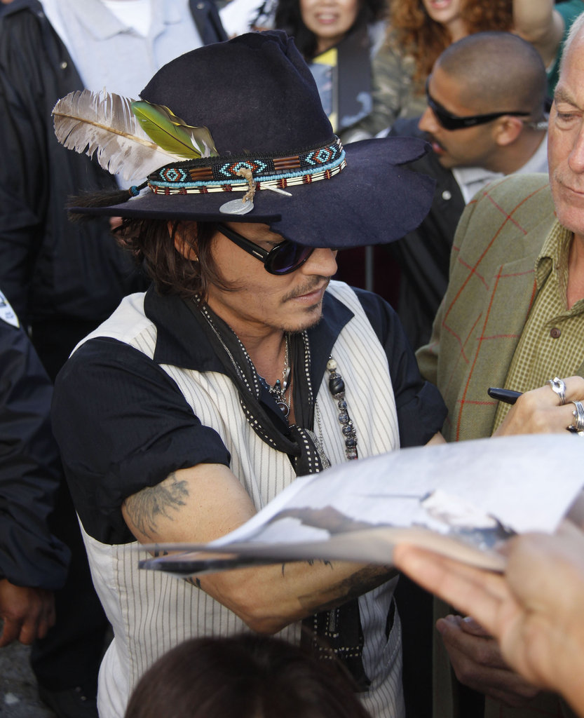 Johnny Depp met fans at the Jimmy Kimmel Live studios.
