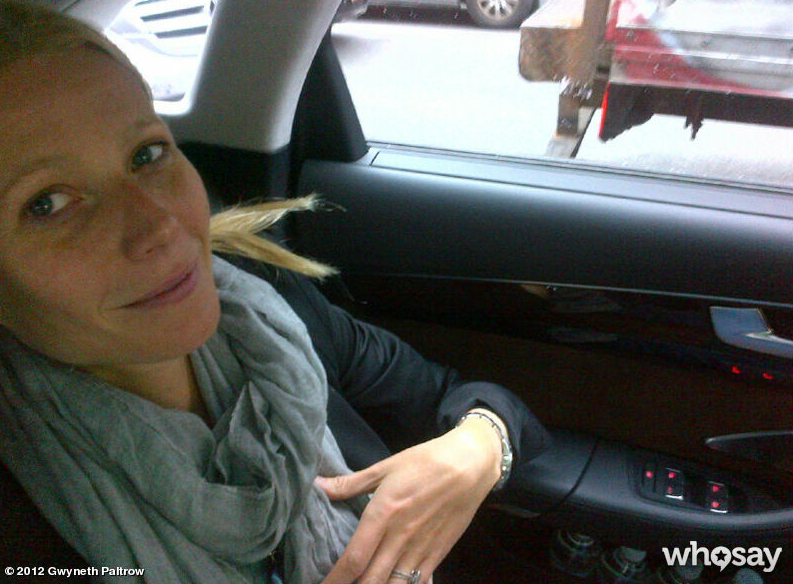 Gwyneth Paltrow shared a photo from her car while on the way to get ready for the Met Gala.  Source: Gwyneth Paltrow on WhoSay