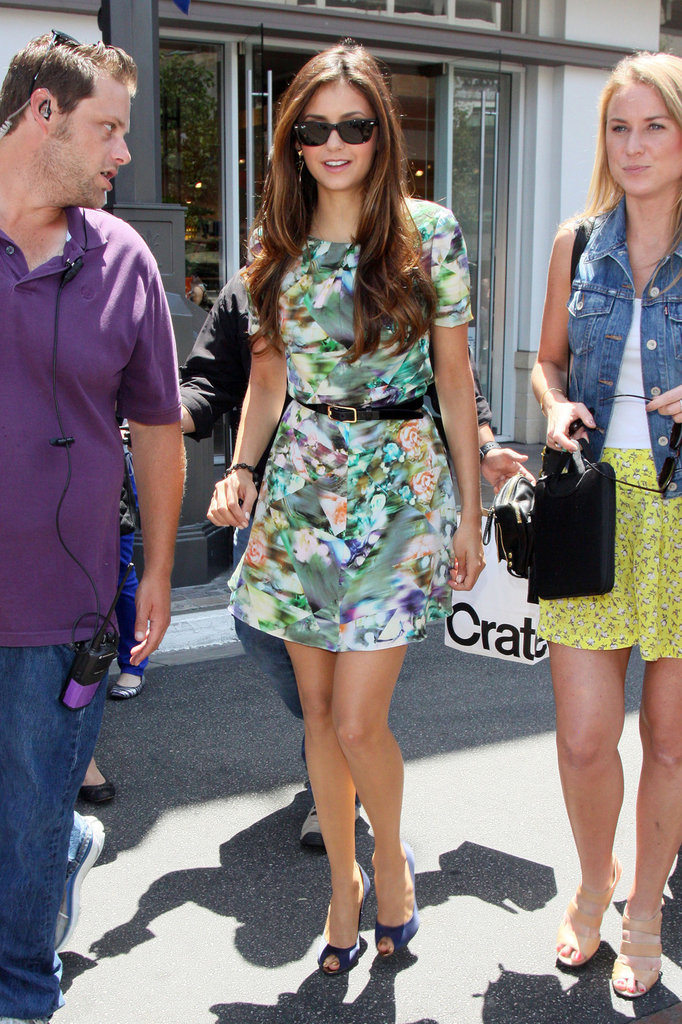 Nina Dobrev wore a cute floral dress for her interview in Hollywood.