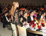 The see-through detail of Beyoncé Knowles's Givenchy gown was on display just as she sat down at her table with seatmates Rooney Mara, James Franco, and artist Marina Abramovic. Billy Farrell/BFAnyc.com