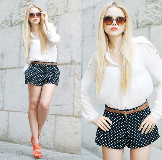 We love this riff on the classics with a staple white button-down and a pair of short polka-dot shorts — plus red heels to finish.  Photo courtesy of Lookbook.nu
