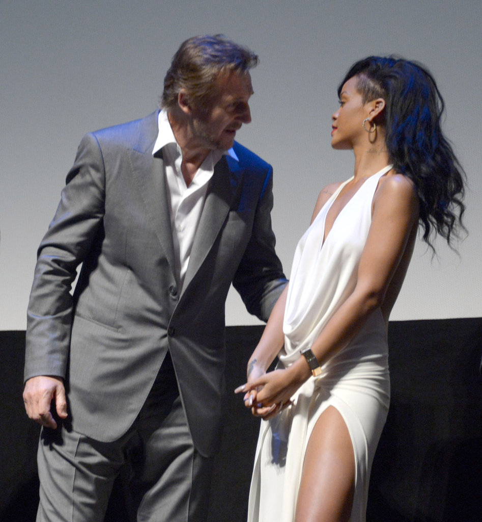 Liam Neeson and Rihanna chatted at the LA premiere of Battleship.