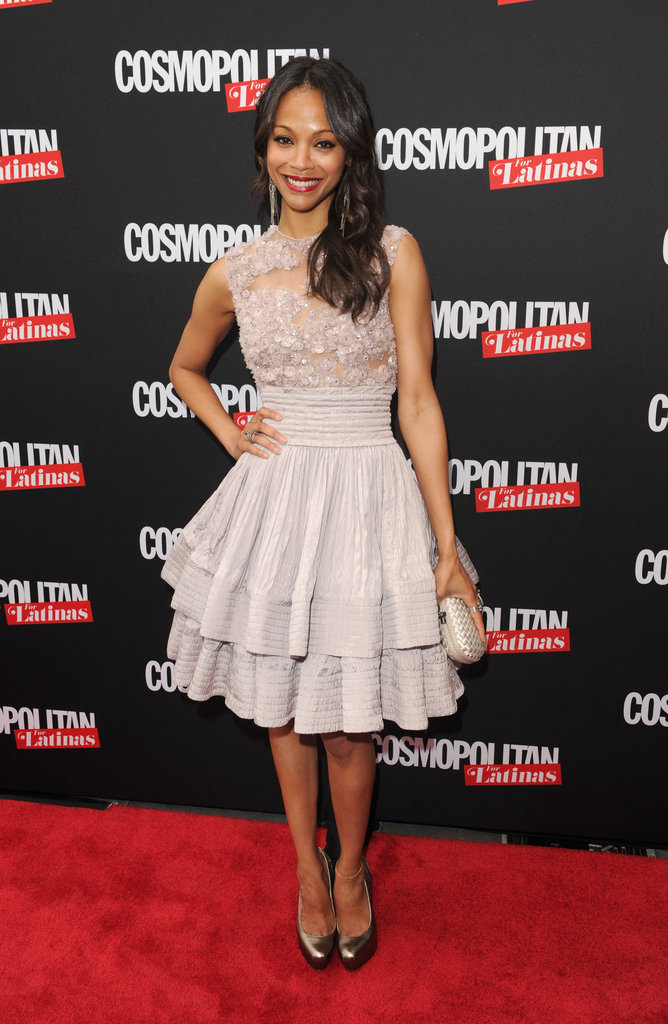 Zoe Saldana wore a lilac Elie Saab dress for the launch of Cosmopolitan for Latinas in NYC.