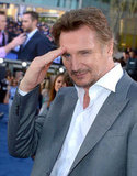 Liam Neeson saluted the crowd at the premiere of Battleship in LA.