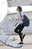 Kristen Stewart boarded a private jet.