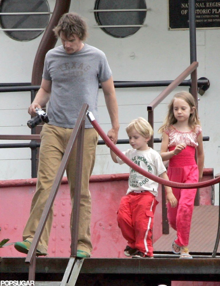 Ethan Hawke took his kids Maya and Levon on a water taxi in NYC in the Summer of 2005.