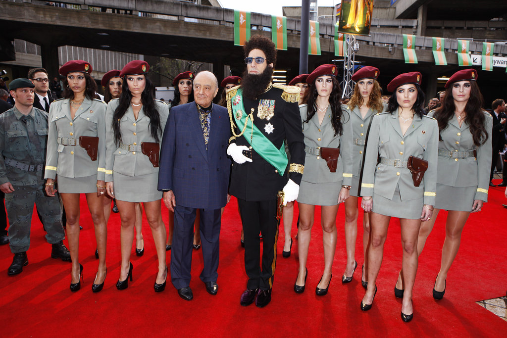 Sacha Baron Cohen remained in character as he attended the premiere of The Dictator.