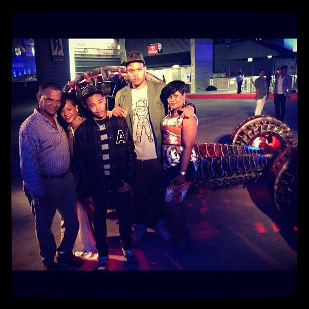 Rihanna spent time with her family at the Battleship premiere.  Source: Instagram user badgalriri