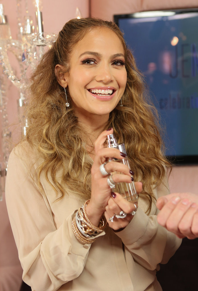 Jennifer Lopez tested out her latest fragrance, Glowing.