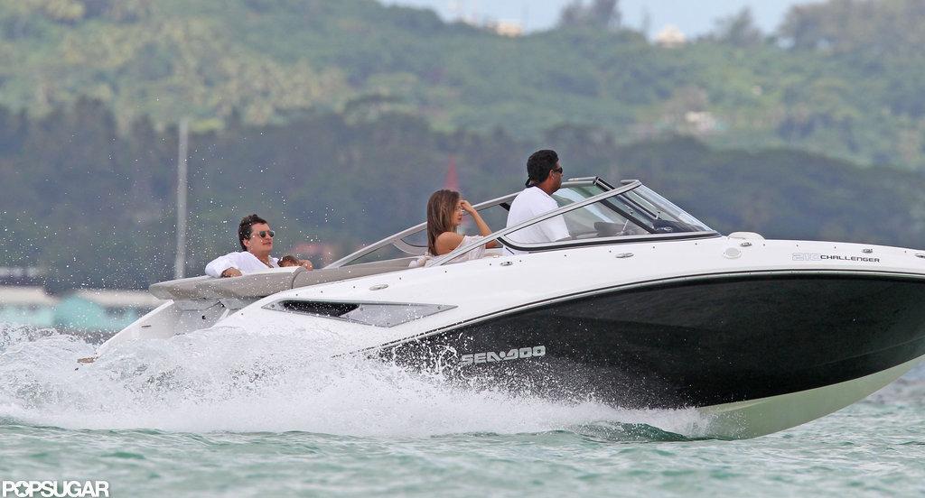 Miranda Kerr, Orlando Bloom, and Flynn went on a family boat ride in Bora Bora.