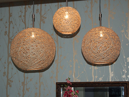 Add texture with Hemp Pendant Lights. We love the idea of clustering a few pendants in various sizes over a dining table.  Source: Craftynest