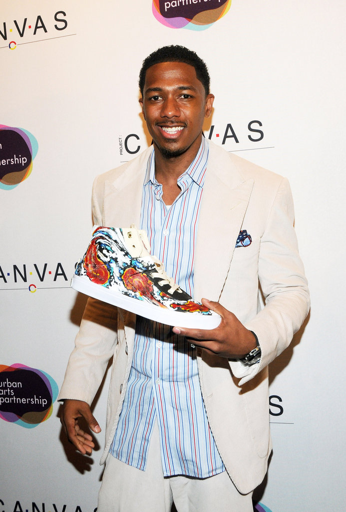 Nick Cannon showed off a piece from the Project Canvas Exhibition & Art Gala in NYC.