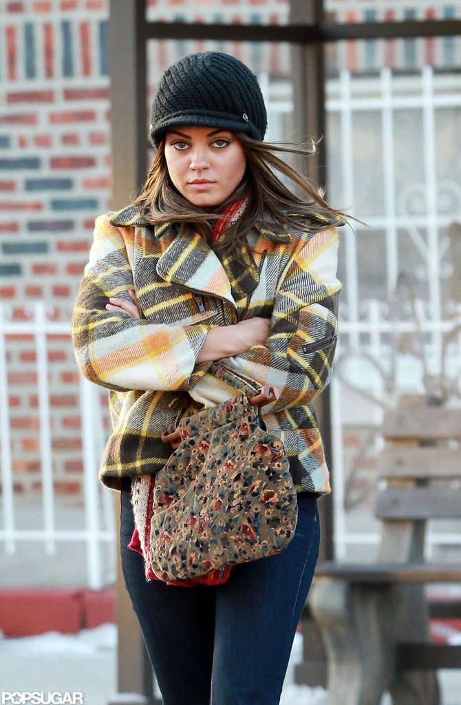 Mila Kunis filmed a scene on the set of Blood Ties in NYC.