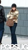 Mila Kunis wore a plaid jacket for the filming of Blood Ties in NYC.