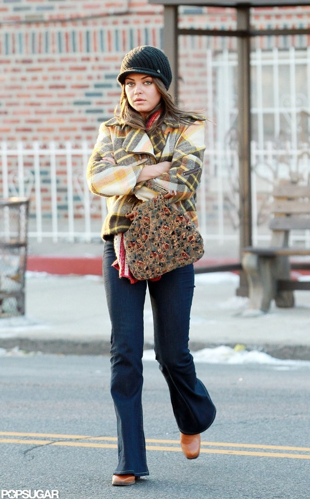 Mila Kunis looked bundled up on the set of Blood Ties in NYC.