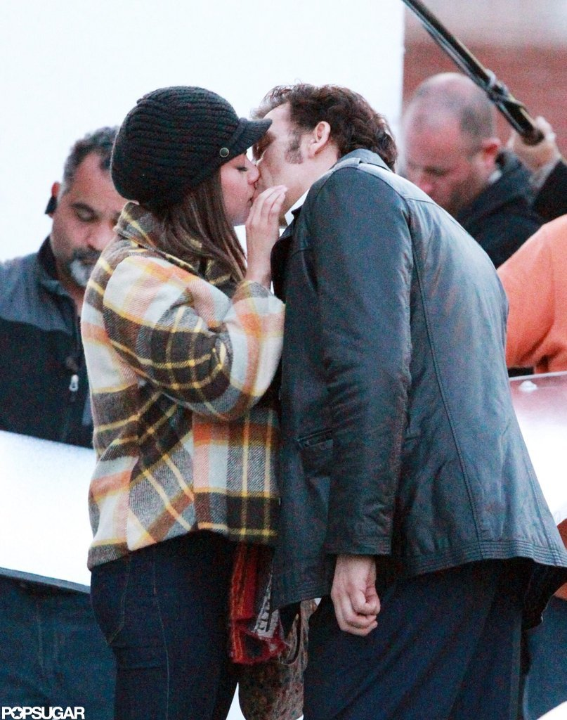 Mila Kunis and Clive Owen kissed each other on the set of Blood Ties in NYC.